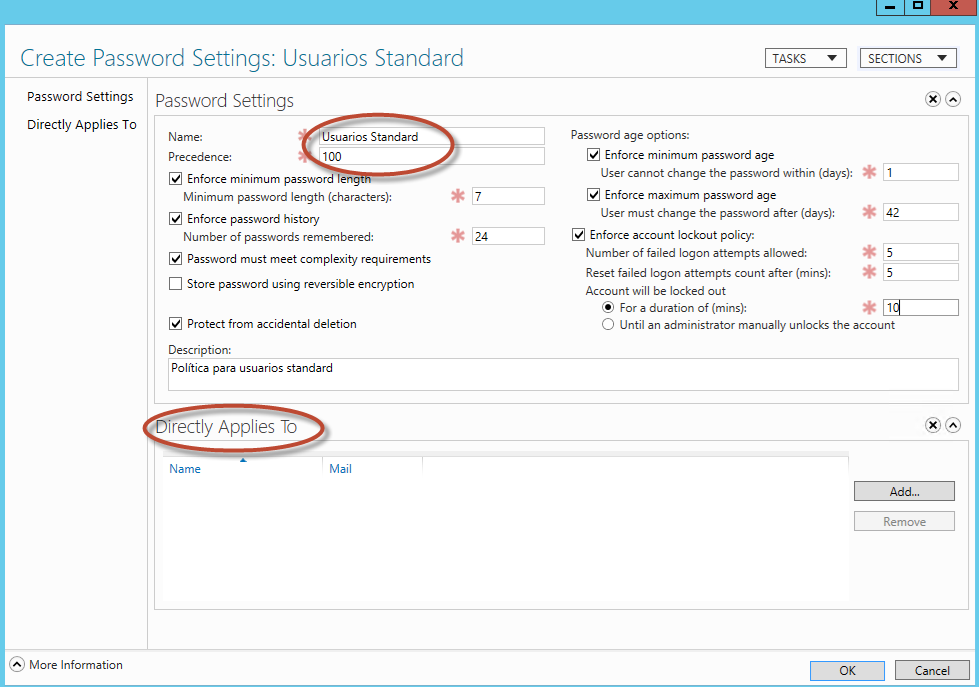 Creación de una política de contraseñas (Password Settings) para Active Directory