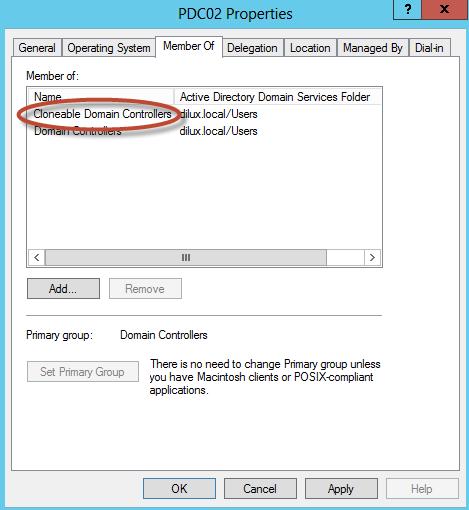 Autorización de PDC02.DILUX.LOCAL para clonación en Active Directory