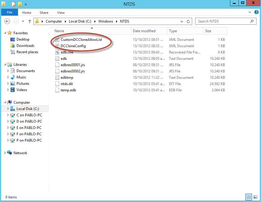 """Archivos XML de configuración en el directorio """"C:\Windows\NTDS""""."""