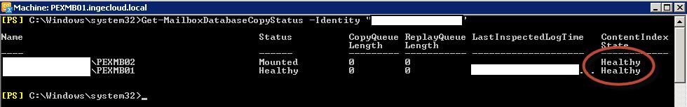 Status de base de datos copia y master en DAG Exchange 2010