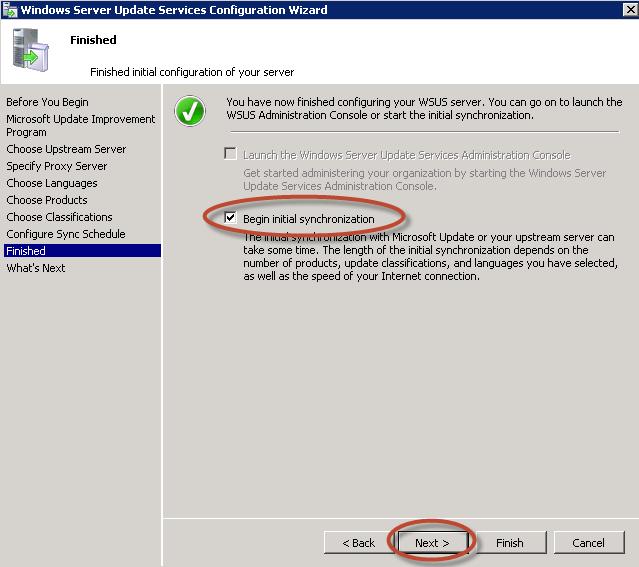Asistente de Configuración de Windows Server Update Services (WSUS) 3.0 en Windows Server 2008 R2