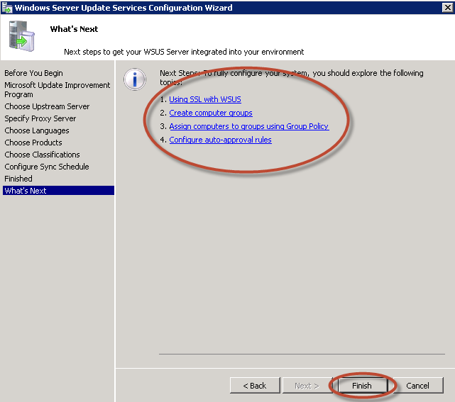 Asistente de Configuración de Windows Server Update Services (WSUS) 3.0 en Windows Server 2008 R2