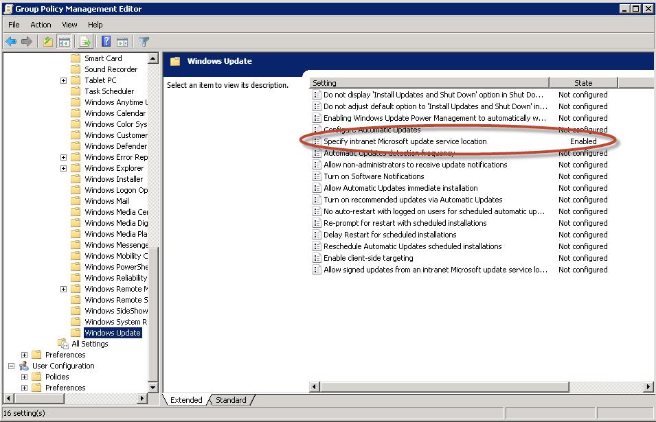GPO para implementación masiva de política de centralización de updates a través de WSUS 3.0 en Windows Server 2008 R2