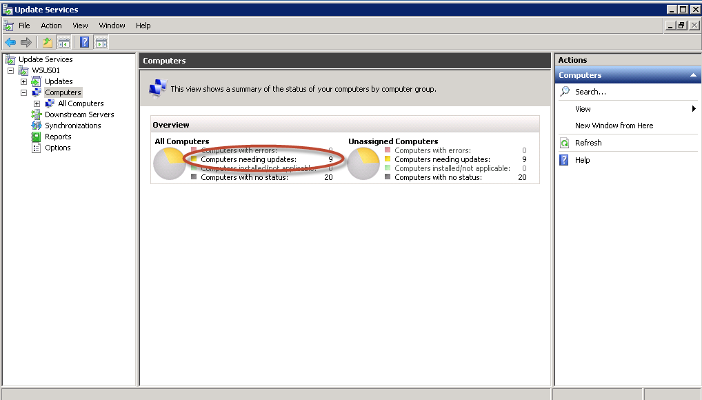 Comienzan a aparecer los equipos para administrar sus actualizaciones a través de WSUS 3.0 de Windows Server 2008 R2
