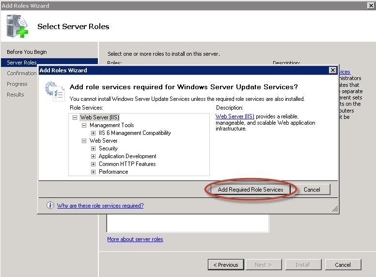 Agregado de rol WSUS en Windows Server 2008 R2