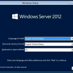 Instalación de Windows Server 2012. Selección de lenguage y formato regional.