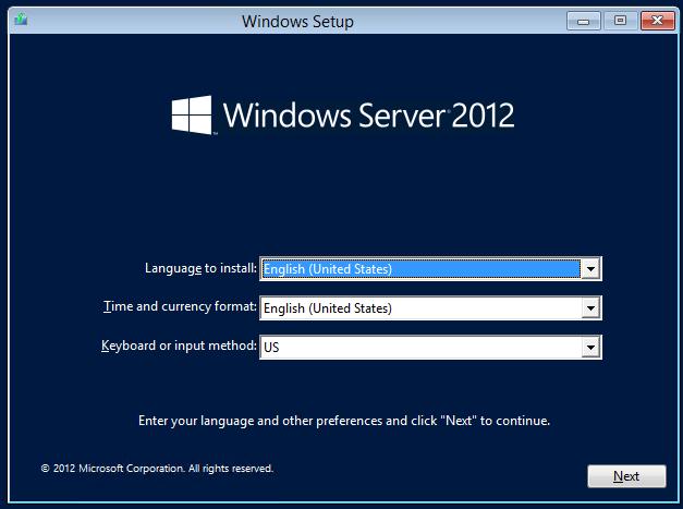 Instalación de Windows Server 2012. Selección de lenguage y formato regional.