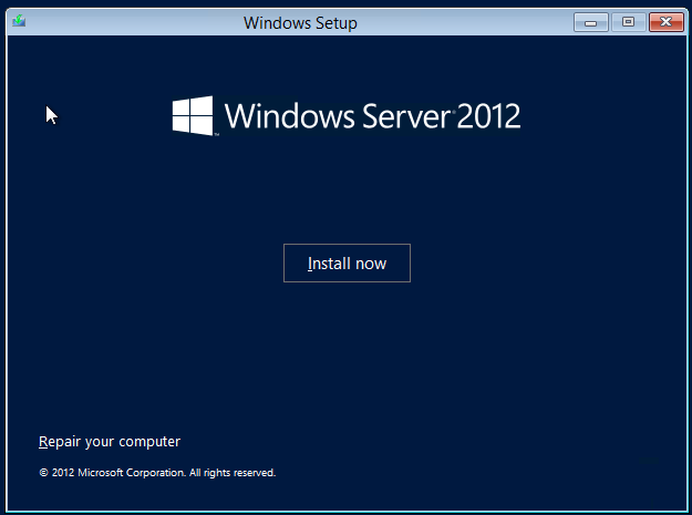 Instalación de Windows Server 2012.