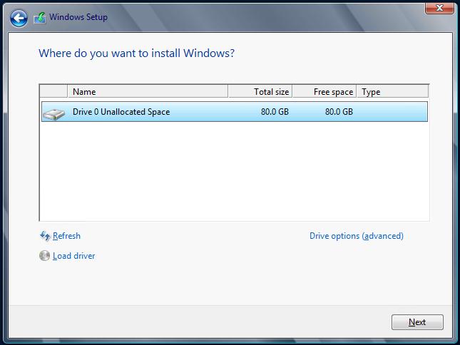 Instalación de Windows Server 2012. Configuración de partición.