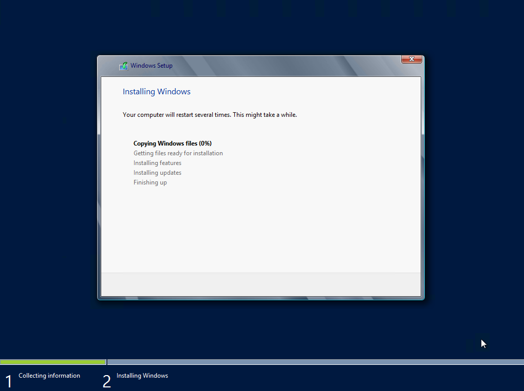 Instalación de Windows Server 2012. Inicio del proceso.