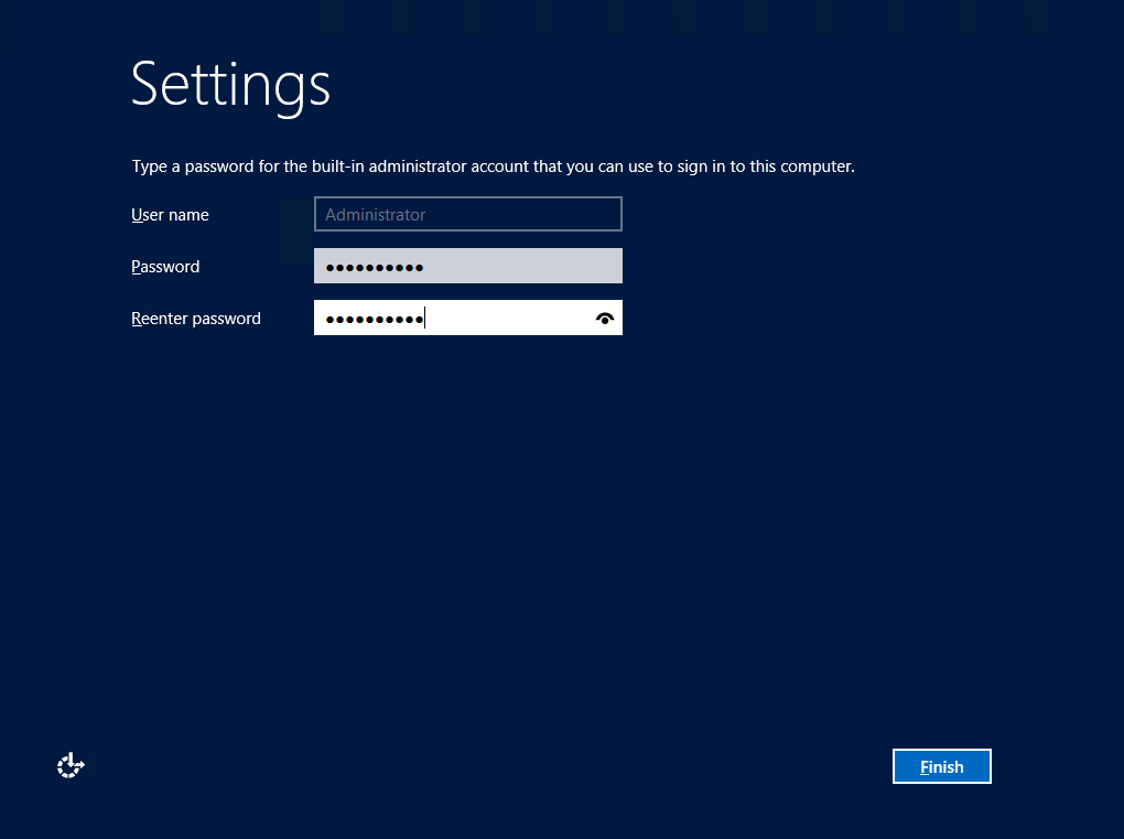 Instalación de Windows Server 2012. Seteo de contraseña de administrador.