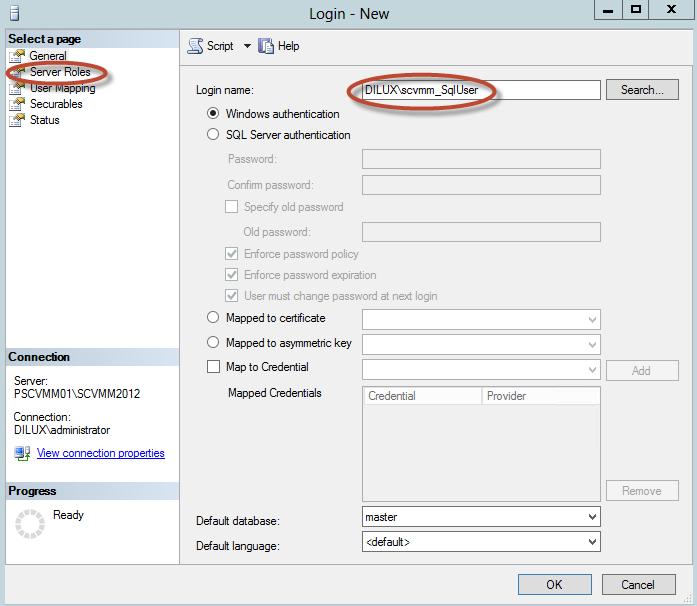 Configuración de SQL Server 2012 para System Center Virtual Machine Manager 2012 SP1