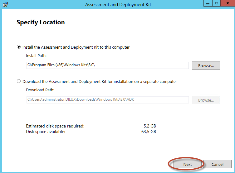 Instalación de Assessment & Deployment Kit para System Center Virtual Machine Manager 2012 SP1