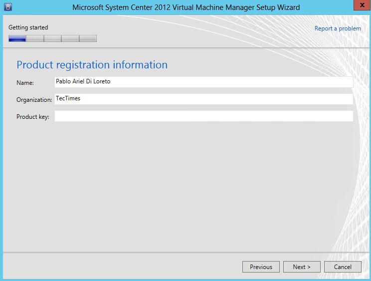 Instalación de System Center Virtual Machine Manager 2012 SP1 (beta)