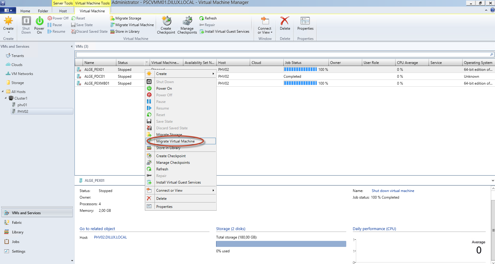 Hyper-V 3 Cluster y System Center Virtual Machine Manager 2012 SP1 - Migración de Equipos a Alta Disponibilidad