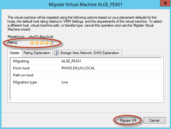 Hyper-V 3 Cluster y System Center Virtual Machine Manager 2012 SP1 - Live Migration