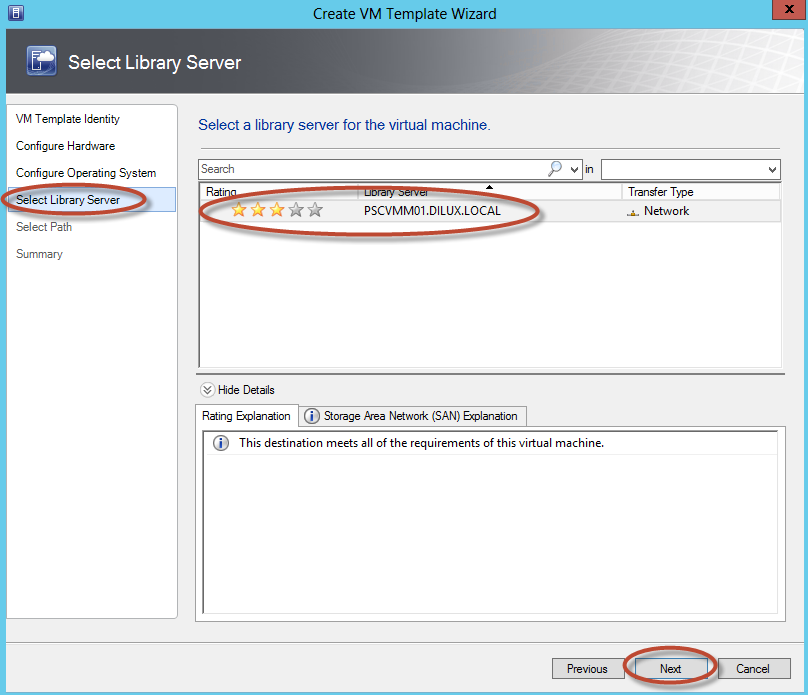 Creación de Plantilla (Template) en System Center Virtual Machine Manager 2012 - Elección de Library Server y Ubicación
