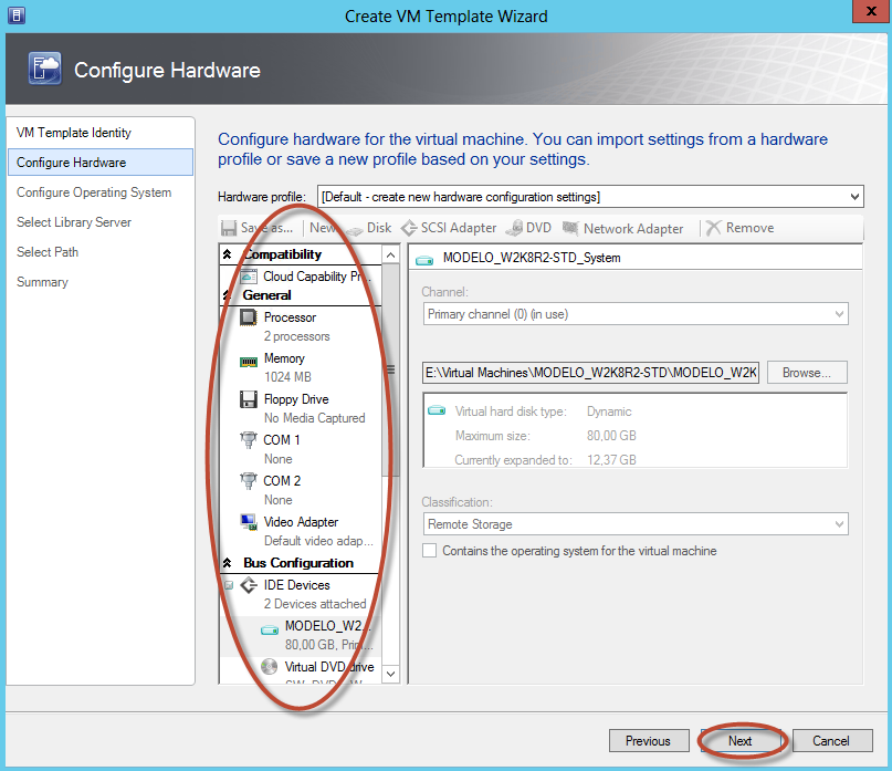 Creación de Plantilla (Template) en System Center Virtual Machine Manager 2012 - Configuración de Opciones de Hardware