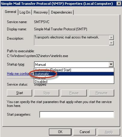 Ilustración 13 – Elección del modo de inicio en Automático para el servicio SMTP.