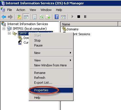 Ilustración 16 – Ingreso a las propiedades del servidor SMTP.
