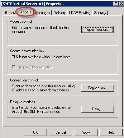 """Ilustración 21 – Solapa """"Acceso"""" del servidor SMTP."""