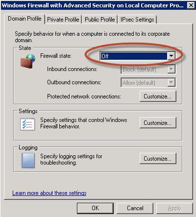 Ilustración 32 – Deshabilitación del Firewall de Windows.