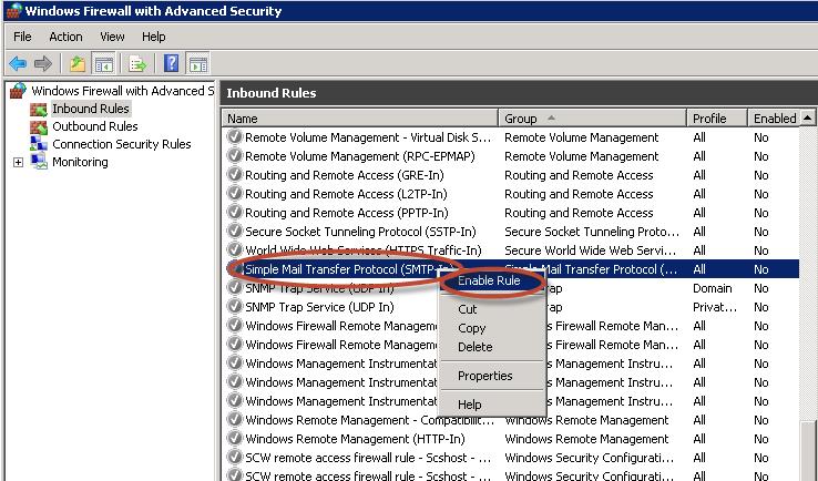 Ilustración 37 – Habilitación de regla SMTP TCP-In para SMTP Server.