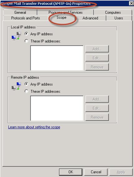 Ilustración 38 – Propiedades de la regla SMTP.
