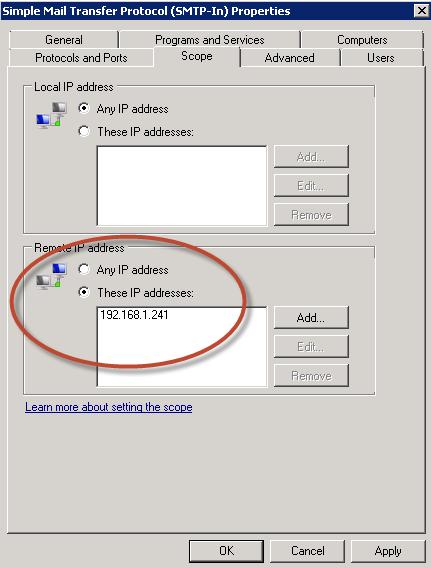 Ilustración 39 – Configuración de Dirección IP para conexiones SMTP.