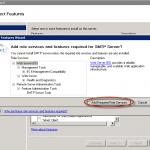 Ilustración 4 – Componentes adicionales requeridos para la instalación del Feature SMTP Server.