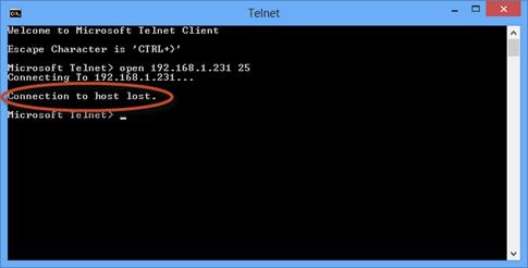Ilustración 43 – Prueba de envío a través desde TELNET desde un equipo no autorizado.