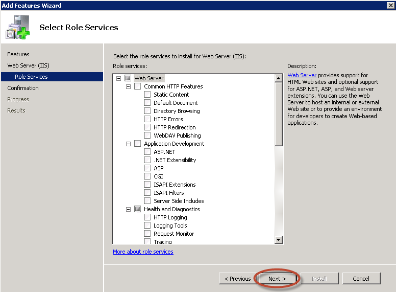 Ilustración 6 – Servicios adicionales de IIS 7.5.