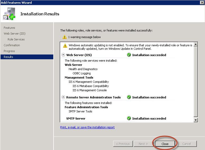 Ilustración 8 – Finalización de instalación del Feature SMTP Server.