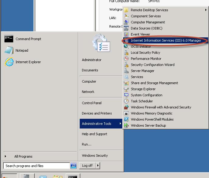 Ilustración 9 – Apertura de Internet Information Services (IIS) 6.0 Manager.