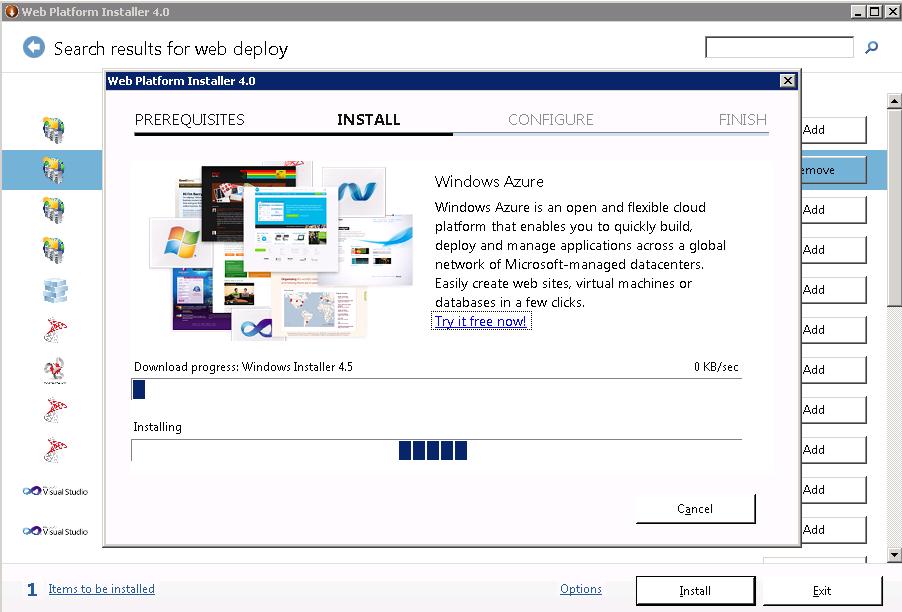 Ilustración 6 – Instalando Web Deploy 3.0.