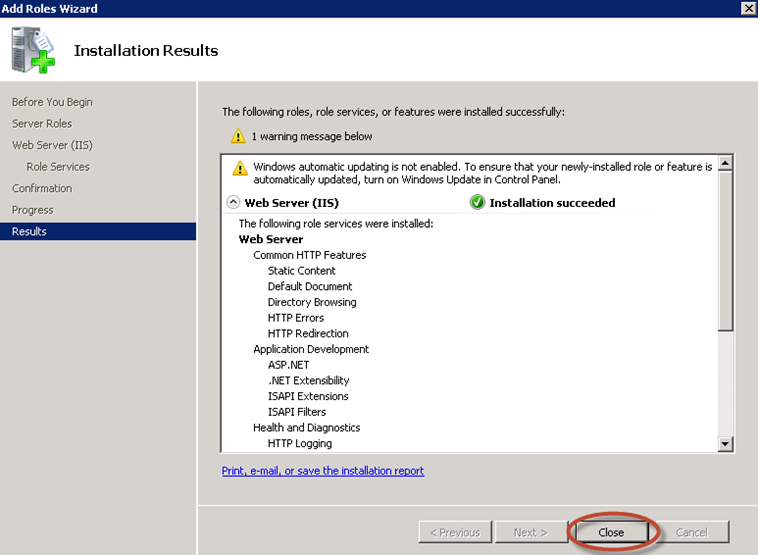 Finalización de la instalación del rol IIS 7.5 en Windows Server 2008 R2.
