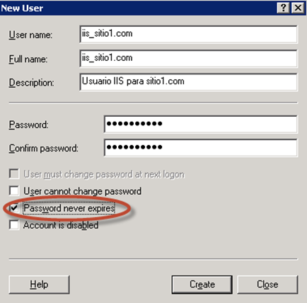 Usuario de servicio IIS creado.