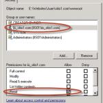 Configuración de permisos a nivel carpeta para cada Sitio Web.