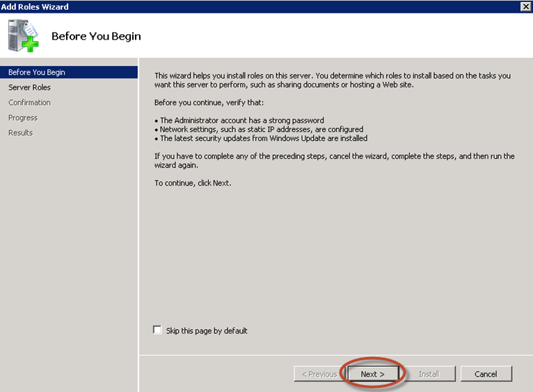 Asistente para agregar roles de Windows Server 2008 R2