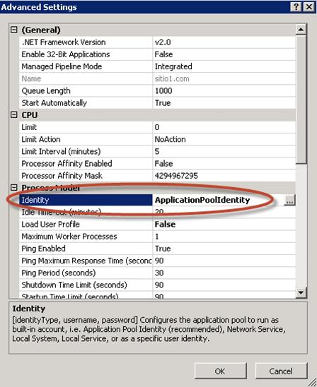 Configuración de Identity para el Application Pool de un sitio web.