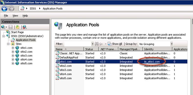 Identity modificado para el Application Pool del sitio1.com.
