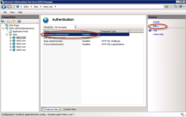 Autenticación en Sitio Web de IIS 7.5.