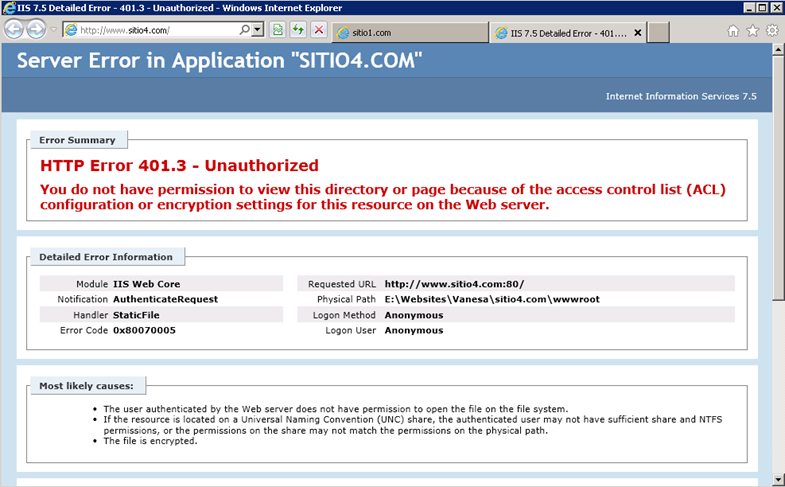 Error en IIS 7.5 al no ingresar el usuario para Anonymous Authentication.