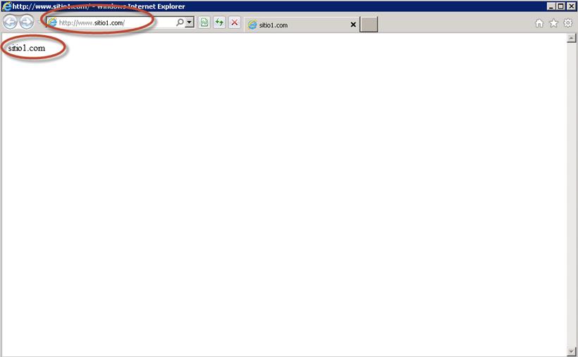 Prueba de apertura de sitio web en IIS 7.5 desde un equipo cliente.