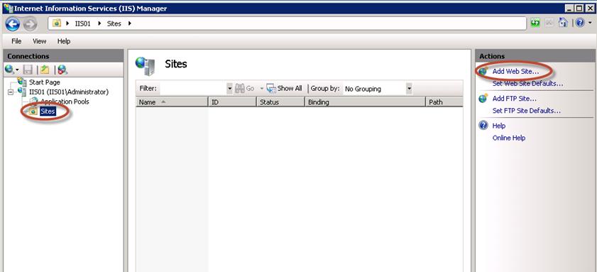 Add Web Site en IIS 7.5.
