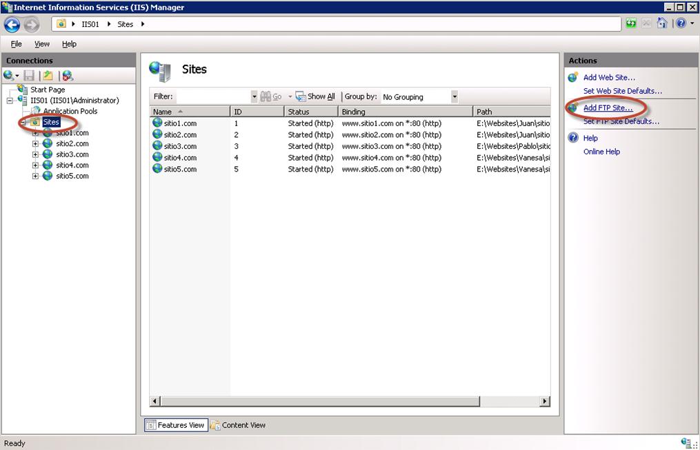Creación de sitio FTP en IIS 7.5.