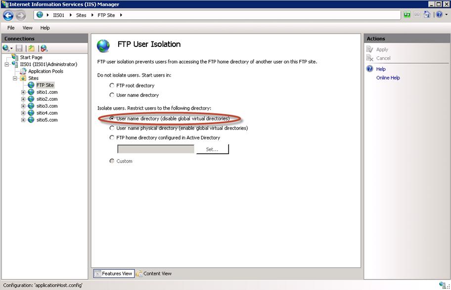 Isolación de Usuarios en IIS 7.5 para la función FTP.