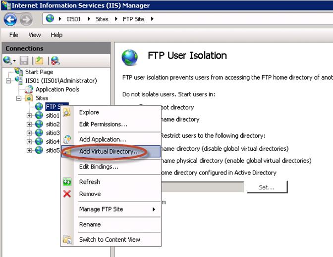 Virtual Directory para aislamiento de usuarios en el FTP del IIS 7.5.
