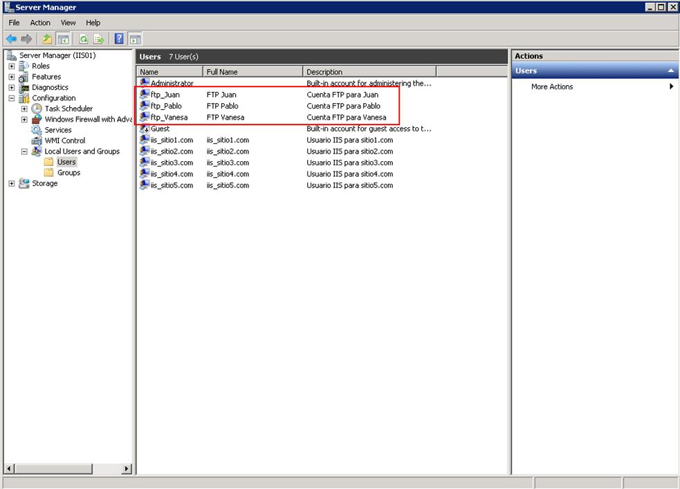 Listado de cuentas FTP para los clientes en IIS 7.5.
