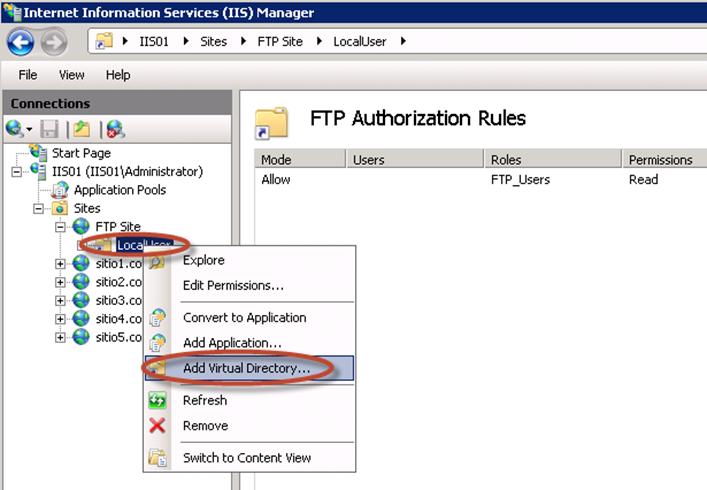 Creación de Directorio Virtual para aislamiento de usuarios en el FTP de IIS 7.5.
